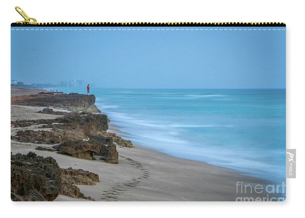 Carry-all Pouch featuring the photograph Footprints And Rocks by Tom Claud