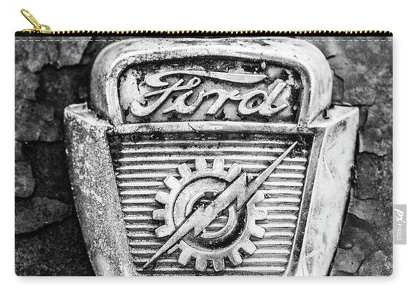 Ford Emblem On A Rusted Hood Verticle Carry-all Pouch