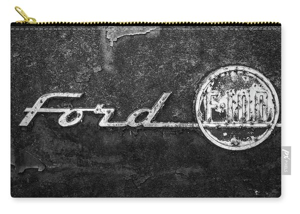 Ford F-100 Emblem On A Rusted Hood Carry-all Pouch