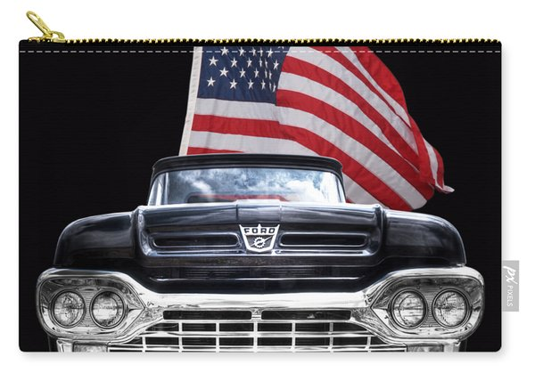 Ford F100 With U.s.flag On Black Carry-all Pouch