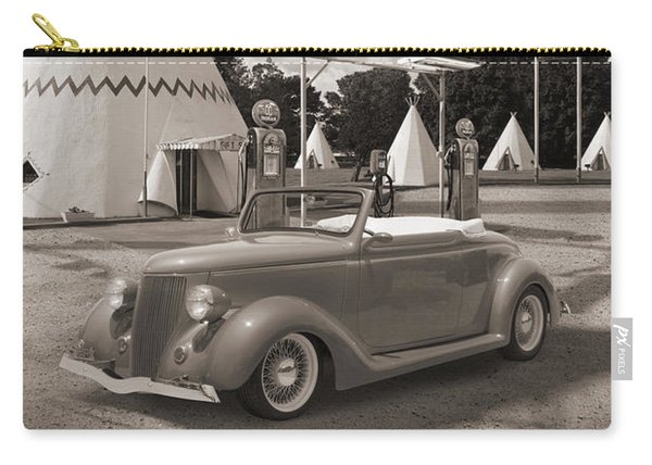 Ford Roadster At An Indian Gas Station Sepia Carry-all Pouch