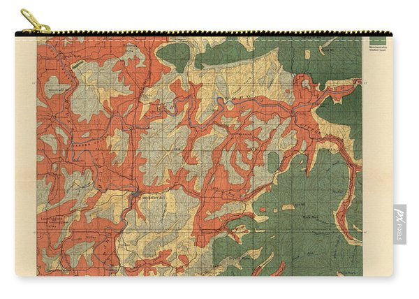 Forest Cover Map 1886-87 - Roseburg Quadrangle - Oregon - Geological Map Carry-all Pouch