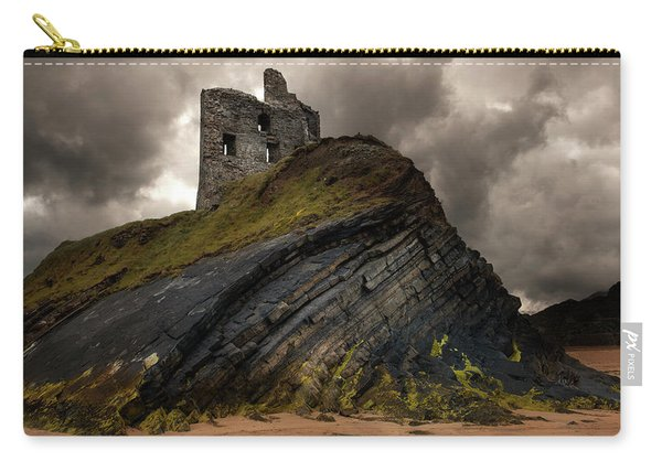 Carry-all Pouch featuring the photograph Forgotten Castle In Ballybunion by Jaroslaw Blaminsky
