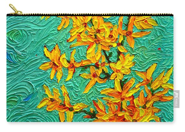 Forsythia Vibration Modern Impressionist Flower Art Palette Knife Oil Painting By Ana Maria Edulescu Carry-all Pouch