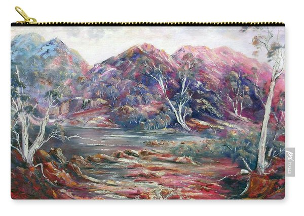 Carry-all Pouch featuring the painting Fountain Springs Outback Australia by Ryn Shell