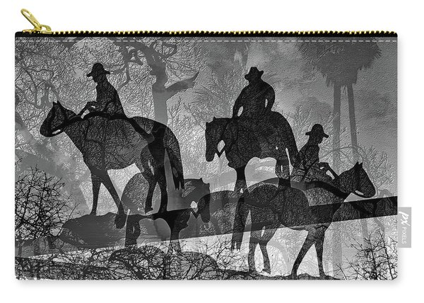 Carry-all Pouch featuring the digital art Four Horsemen Black And White by Visual Artist Frank Bonilla