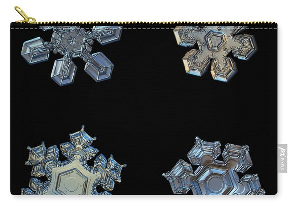 Four Snowflakes On Black 2 Carry-all Pouch
