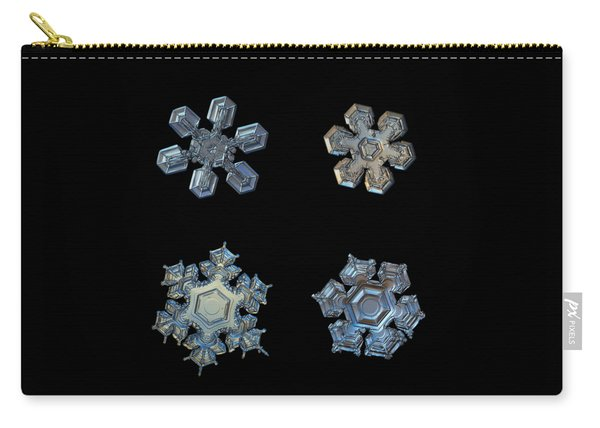 Carry-all Pouch featuring the photograph Four Snowflakes On Black 2 by Alexey Kljatov