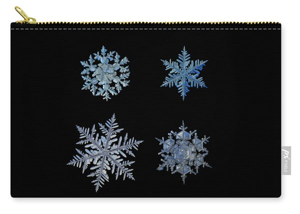 Carry-all Pouch featuring the photograph Four Snowflakes On Black Background by Alexey Kljatov