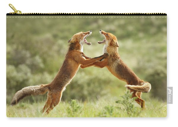 Fox Trot - Red Foxes Fighting Carry-all Pouch