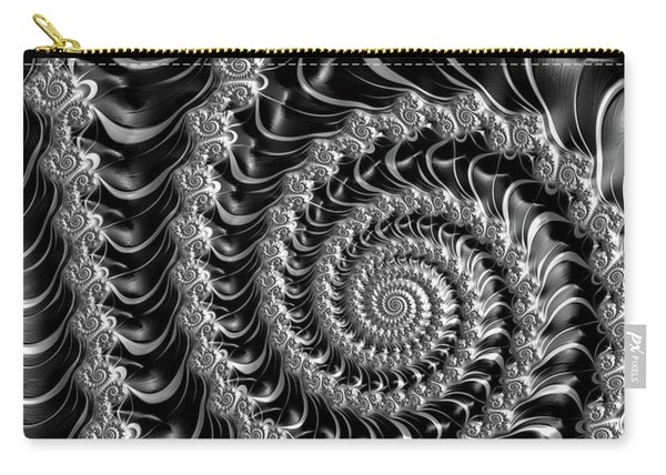 Fractal Spiral Gray Silver Black Steampunk Style Carry-all Pouch