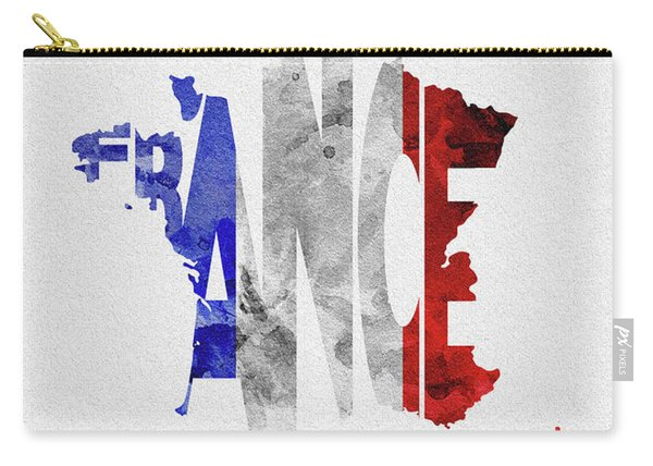 France Typographic Map Flag Carry-all Pouch