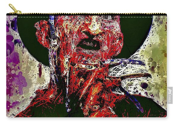 Carry-all Pouch featuring the mixed media Freddy Krueger by Al Matra
