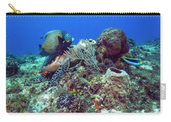 French Angelfish And The Green Turtle Carry-all Pouch