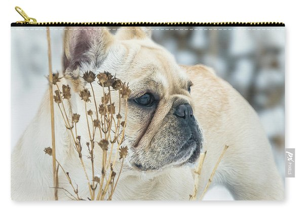 French Bulldog In The Snow Carry-all Pouch