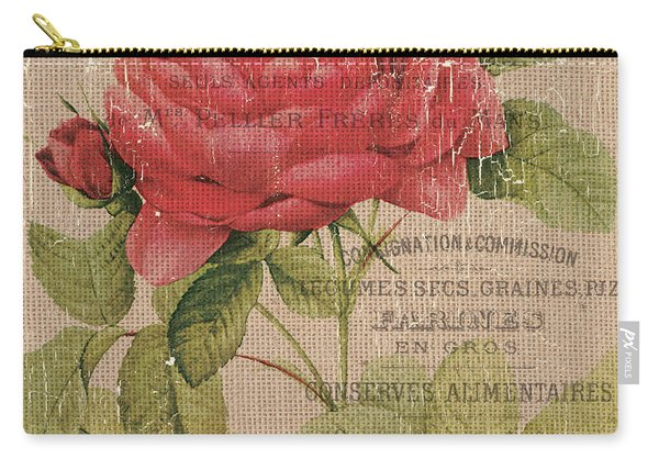 French Burlap Floral 1 Carry-all Pouch
