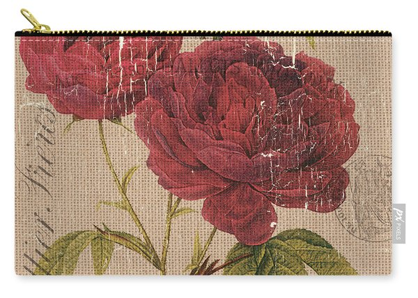 French Burlap Floral 3 Carry-all Pouch