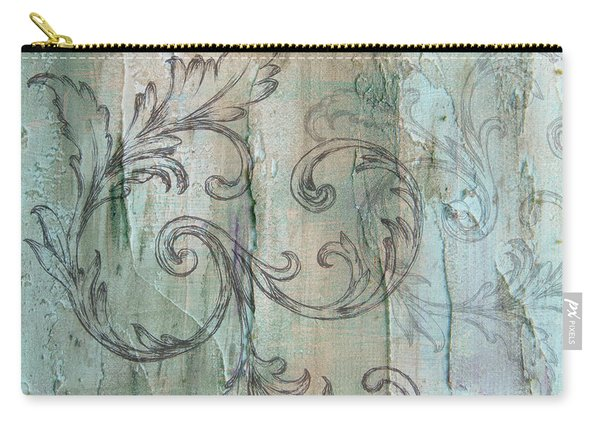 French Country Scroll In Muted Blue Carry-all Pouch