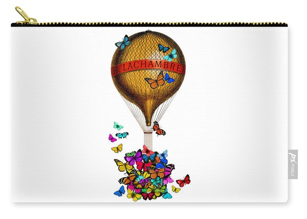 French Hot Air Balloon With Rainbow Butterflies Basket Carry-all Pouch