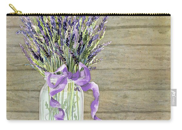 French Lavender Rustic Country Mason Jar Bouquet On Wooden Fence Carry-all Pouch