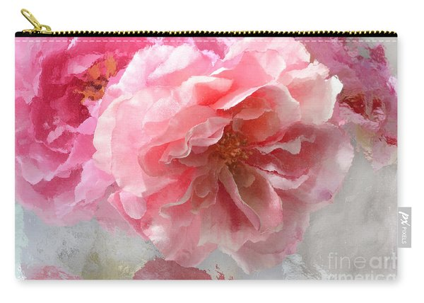 French Shabby Chic Romantic Impressionistic Pink Roses - Painted Pink French Roses Belle Fleur  Carry-all Pouch