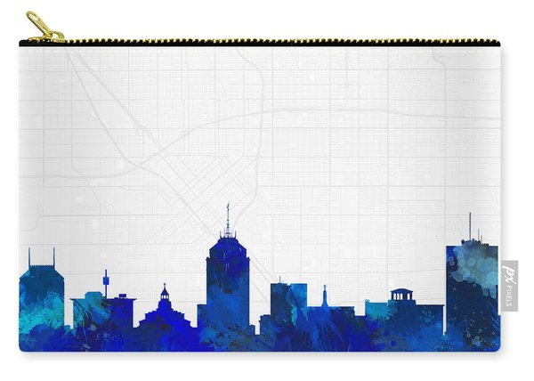 Fresno Cityscape And Streetmap Blue Skyline Carry-all Pouch