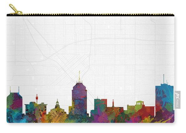 Fresno Cityscape And Streetmap Skyline Carry-all Pouch