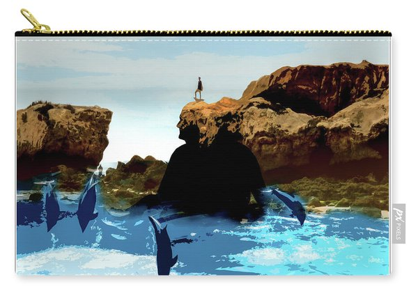 Friends With Dolphins In Colour Carry-all Pouch