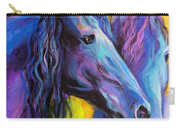 Friesian Horses Painting Carry-all Pouch