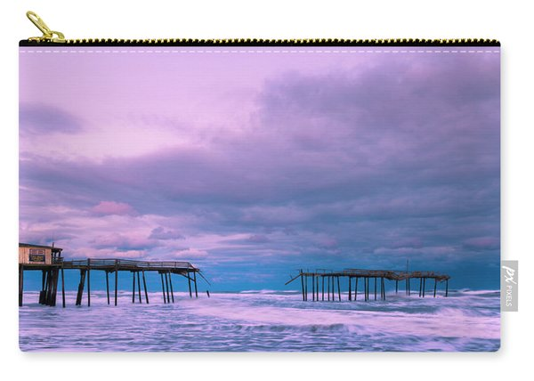 Carry-all Pouch featuring the photograph Frisco Fishing Pier And Clouds Panorama by Ranjay Mitra