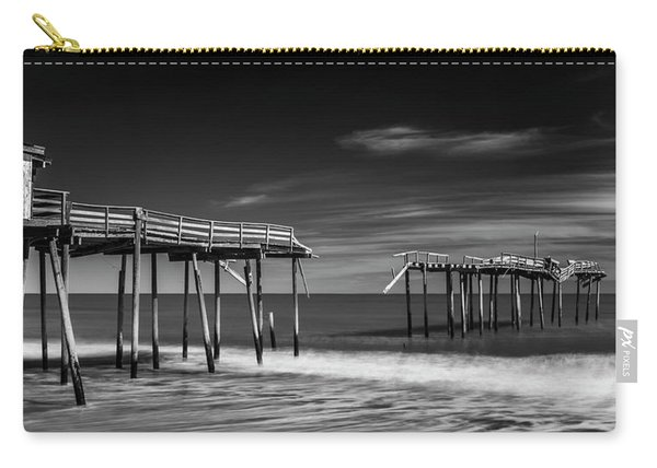 Carry-all Pouch featuring the photograph Frisco Fishing Pier In Black And White Panorama by Ranjay Mitra