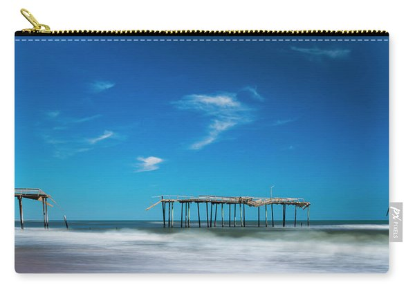 Carry-all Pouch featuring the photograph Frisco Fishing Pier In North Carolina Panorama by Ranjay Mitra