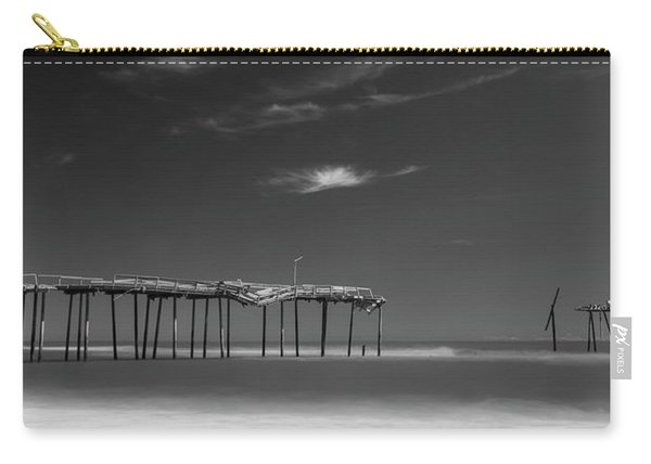 Carry-all Pouch featuring the photograph Frisco Pier In North Carolina And Clouds In Black And White by Ranjay Mitra