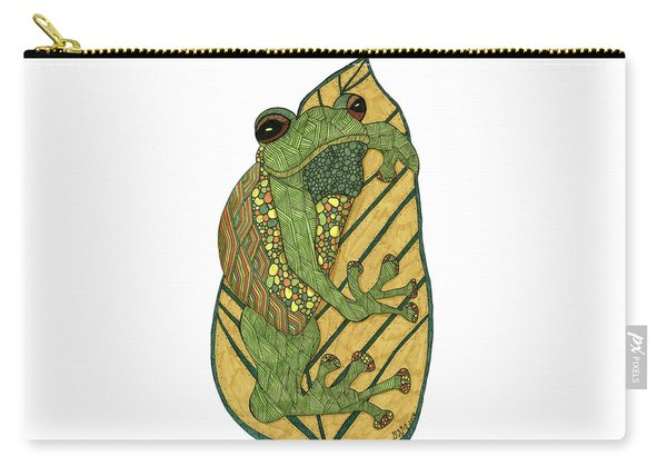 Carry-all Pouch featuring the drawing Frog by Barbara McConoughey