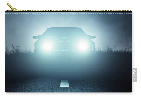 Front Car Lights At Night On Open Road Carry-all Pouch