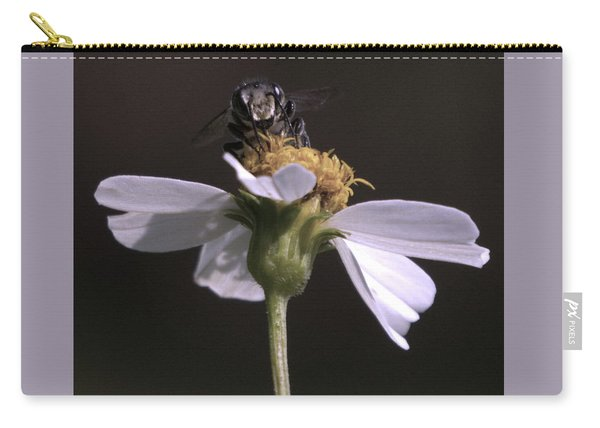 Frontal View Of A Bee On A Flower Carry-all Pouch