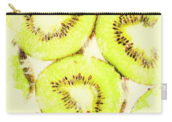 Full Frame Shot Of Fresh Kiwi Slices With Seeds Carry-all Pouch