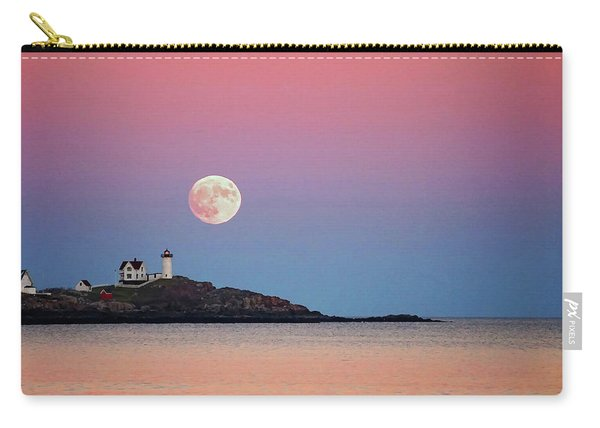 Full Moon Rising At Nubble Light Carry-all Pouch