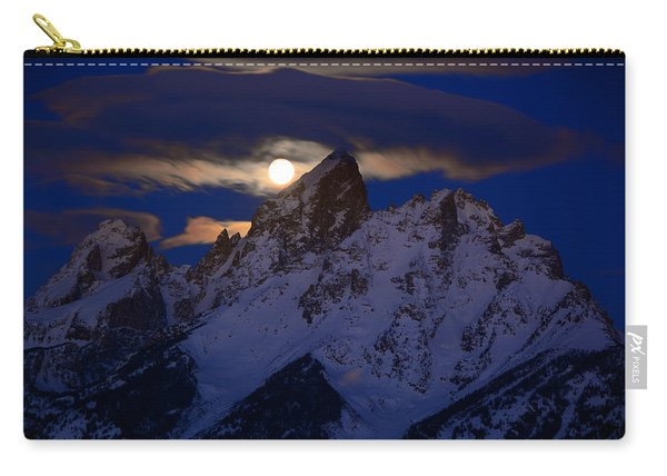Full Moon Sets Over The Grand Teton Carry-all Pouch