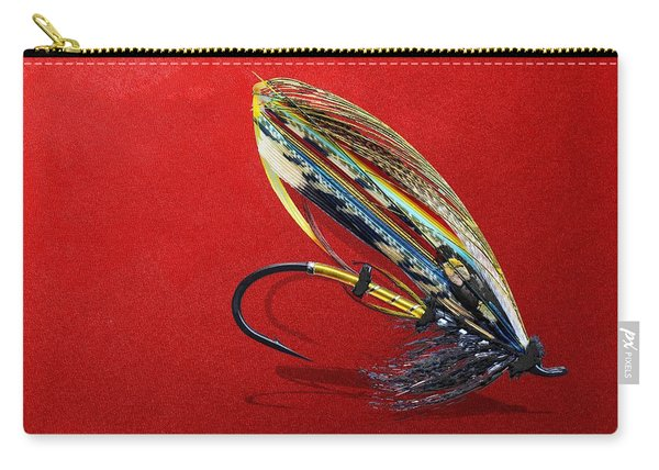 Fully Dressed Salmon Fly On Red Carry-all Pouch