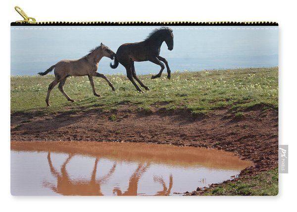 Fun In The Rockies- Wild Horse Foals Carry-all Pouch
