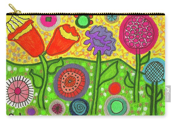 Funky Flowers All In A Row Carry-all Pouch