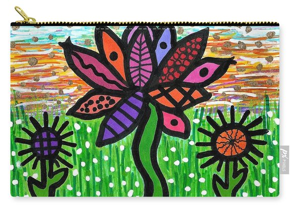 Funky Flowers At Sunset Carry-all Pouch