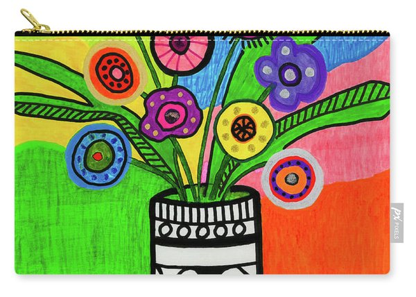 Funky Folk Flowers Carry-all Pouch