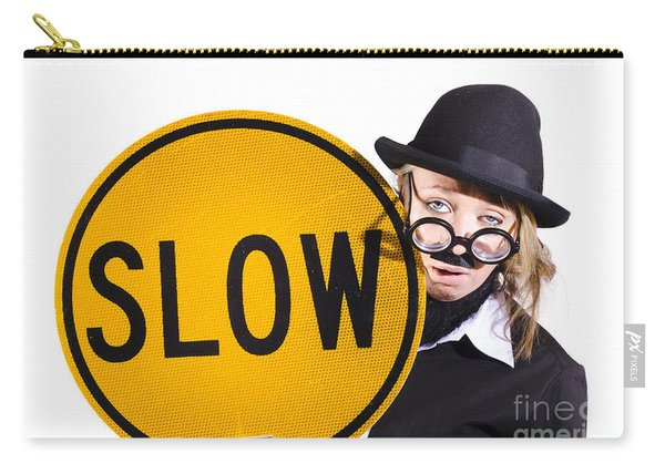 Funny Business Woman With Slow Sign Carry-all Pouch