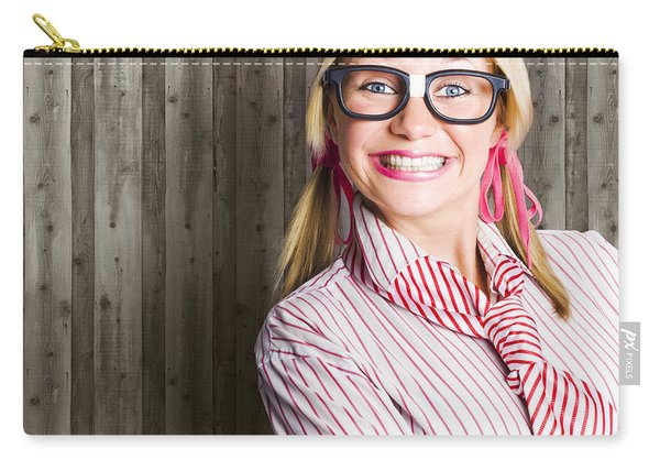Funny Retro Female Nerd Girl With Dorky Smile Carry-all Pouch