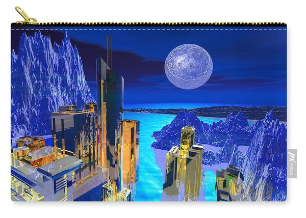 Carry-all Pouch featuring the digital art Futuristic City by Deleas Kilgore