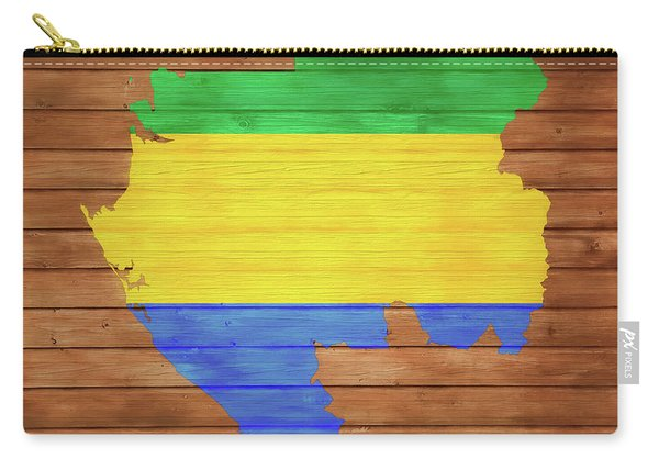 Gabon Rustic Map On Wood Carry-all Pouch