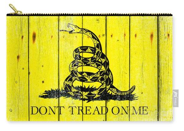 Gadsden Flag On Old Wood Planks Carry-all Pouch