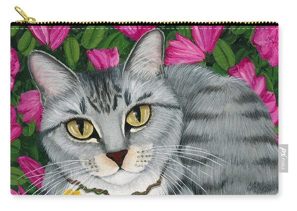 Garden Cat - Silver Tabby Cat Azaleas Carry-all Pouch
